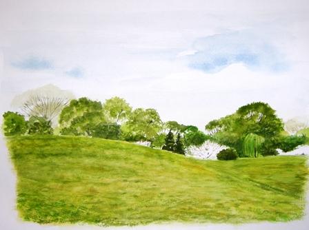 公園の春 F6 水彩画