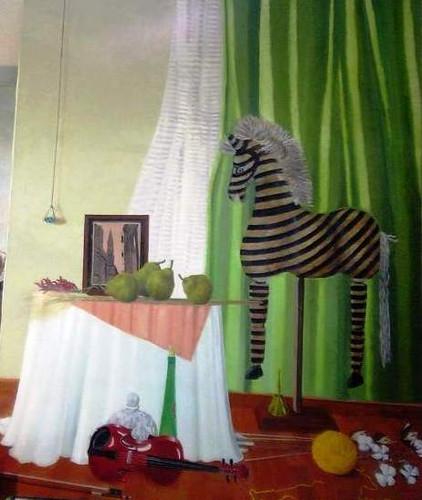 「木馬のある室内」 油彩画 サイズ F100号